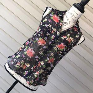 Semi Sheer Black Sleeveless Floral Blouse